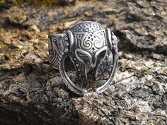 Legendary Viking Warrior with Viking Ship 925 Silver Plated Ring