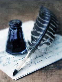 Ink:  #Ink bottle and #quill #pen.