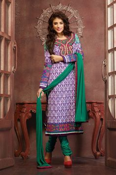 Purple Embroidered Cotton Dress Material