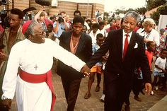 Archbishop Desmond Tutu and Nelson Mandela in Soweto, South Africa, following Mandela's release from prison in 1990. Photo: Peter Magubane.