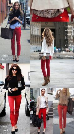Ideas for what to do with those red (or other colored) pants hanging in your closet that you never wear.