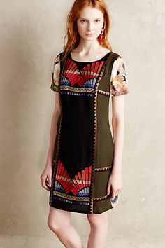 Fanned Vignette Shift Dress / Anthropologie / Love the embroidered shift dress, and the back is a fun surprise!