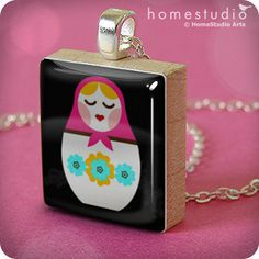 Russian Doll (BLK) : pendant jewelry from a Scrabble tile. Necklace Scrabble piece. Home Studio jewelry gift present.