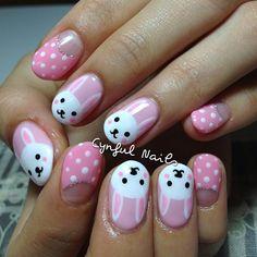 BUNNY RABBIT by  cynfulnails #nail #nails #nailart