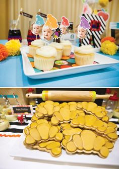 Croissant Cookies, rolling pin decor & printable picture party circles with chef hat silhouettes :)