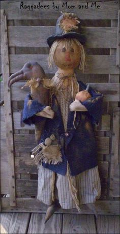 Old Scarecrow with a Crow  Raggadees by mom and me by antonia