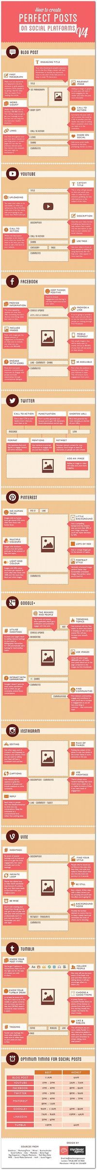 [INFOGRAPHIC] Guide to Perfect Social Media Posts for a blog; YouTube; Facebook; Twitter; Pinterest; Google+; Instagram; Vine; and Tumblr: Title; Image; First paragraph; Word count; Call-to-action; Links; Social Media share; Best times; Details.