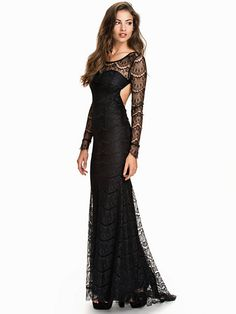Tail Maxi Lace Dress - Nly Eve - Czarny - Sukienki Wieczorowe - Odzież - Kobieta - Nelly.com