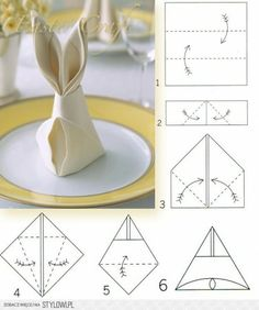 Bunny Napkin Fold how to. Easter rabbit-shaped napkins are a festive detail for the holiday table, and they only require a few simple folds. Easter Crafts, Holiday Crafts, Holiday Decor, Bunny Napkin Fold, Diy Ostern, Easter Party, Easter 2018, Easter Dinner, Holiday Tables