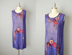 Vintage 20s Dress // 1920s Purple Chiffon Flapper Dress by OffBroadwayVintage