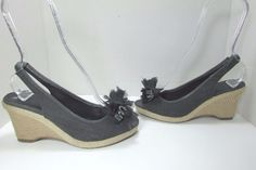 NY & C Heather Gray Peep Toe Wedge Heel Sandals w/ Bow Size US 8 M #NYC…