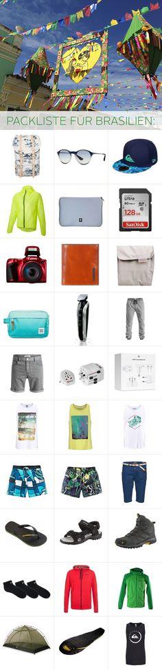 Alles, was Mann zum Reisen braucht: Badeshorts, Kamera, Shorts  und  Regenjacke. Außerdem dürfen der Reiseadapter, Rasierer und Sonnenbrille für die Brasilien Reise nicht vergessen!