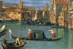 The Grand Canal and the Church of the Salute (detail) by CANALETTO #art