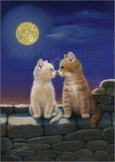 Katzen im Mondschein Poster von Jürgen Scholz