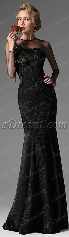 eDressit New Black High Collar Mermaid Lace Formal Evening Dress Prom Gown
