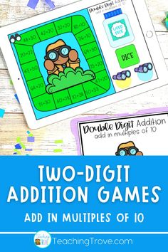 This two digit addition game from the First and Second Grade Math Center Bundle provides the perfect way to practice adding a multiple of 10 to a two digit number. Students are required to add a multiple of ten to two digit numbers using the horizontal format. If they need help, a hints card is provided to guide them.