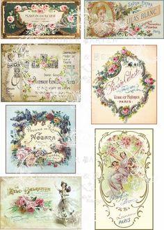 Vintage Etiketten für schöne Glasflaschen, Schachteln, Möbel, Metall, Holz oder Pappe. Es sind bearbeitete französische Graphiken im Vintage Stil. D