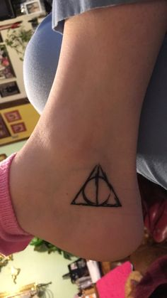 Harry Potter Deathly Hallows tattoo inner ankle. Done by Jennie Tiesman at Delicious Ink in Rockford, IL! ❤️