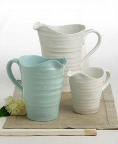 Sophie Conran pitchers...would like a little collection of these...love the celadon, cream and butter colours
