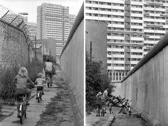 Beengend, der Familienausflug mit dem Fahrrad im Jahr 1981. Bis zur Panzersperre führte der Ausflug, im Hintergrund sind die Hochhäuser der Leipziger Straße im Osten der Stadt zu erkennen. Liebe Leserinnen, liebe Leser: Senden Sie Ihre Fotos des Berliner Mauerstreifens an leserbilder@tagesspiegel.de! Foto: Sommer/Imago