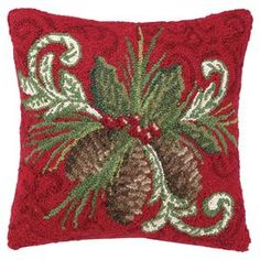 """Hand-hooked wool and cotton pillow with a pinecones motif.  Product: PillowConstruction Material: Wool, cotton cover and polyester fillColor: RedFeatures:  Insert includedHand-hooked Dimensions: 16"""" x 16"""""""