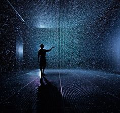 The Rain Room at the Curve, Barbican Centre, London. Uses cameras and sensors to keep you dry while walking through