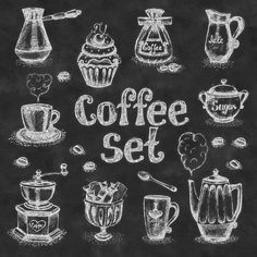"""Wall Art- Chalkboard Kitchen Print -Coffee Subway Art Typography- Chalkboard Coffee Set- Print 12 x 12"""" No.200"""