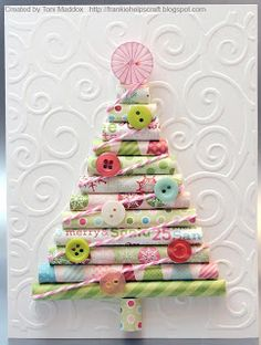Frankie Helps Craft: Rolled Paper Tree - Christmas Paper Rolled on #8 knitting needles, Bakers Twine, Pink Starburst & other Buttons, Embossed Background