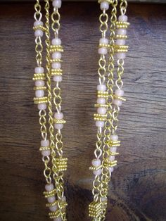 Triple Strand Gold Chain Necklace with Peach Salmon Seed Beads and Square Gold Beveled Spacers by DesignsbyPattiLynn on Etsy