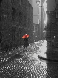 Streets of Paris and the red umbrella