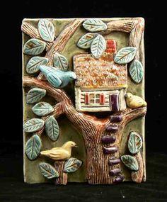 Ceramic Tile Treehouse by tilebyfire on Etsy