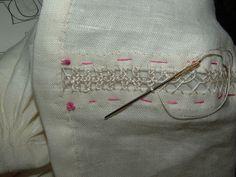 double herringbone and silk interlacing - top seam of St Birgitta's cap reconstruction. (13th-16th century Sweden)