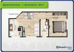 plantas de apartamentos de até 30m² - Pesquisa Google