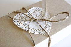 kraft box with doily & twine trim - bachelorette guest gift box Present Wrapping, Creative Gift Wrapping, Creative Gifts, Wrapping Ideas, Pretty Packaging, Gift Packaging, Packaging Supplies, Homemade Gifts, Diy Gifts