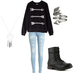 Hunger Games inspired outfit! The top is so stinkin cute! And I want that ring!