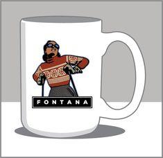 Majestic Cup of Coffee; Vintage Downhill Skier 15 Oz. Coffee Mug- C.FONTANA Poster Store, Lake Geneva, Wisconsin, Coffee Cups, Digital Prints, Mugs, Studio, Illustration, House