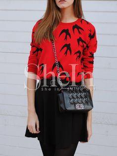 Red+Crew+Neck+Birds+Print+T-Shirt+19.99