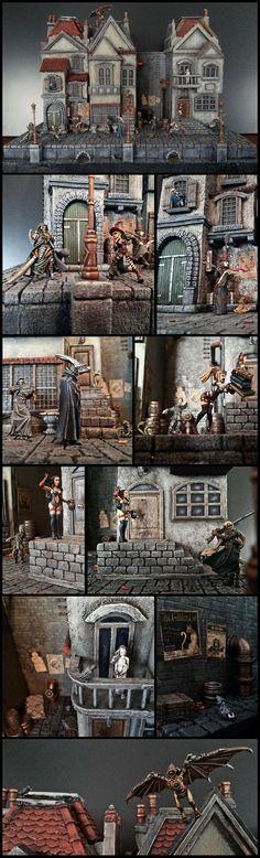 Awesome, City, Confrontation, Diorama, Malifaux, Rackham, Steampunk, Warhammer Fantasy