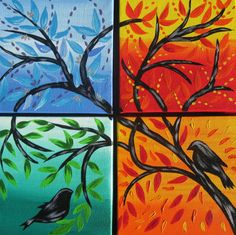 The Four Seasons Acrylic Paints 4 Canvases Made By Me