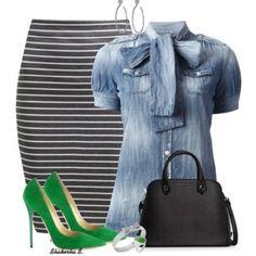 Denim Shirt + Pencil Skirt