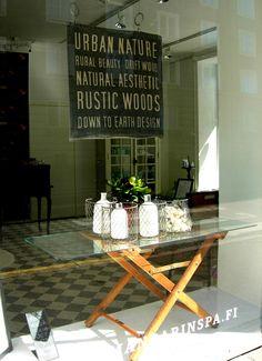 Kesäinen näyteikkunamme / Our Beauty Salon's window decorations #kauneushoitolahelsinki Urban Nature, Earth Design, Helsinki, Ayurveda, Rustic Wood, Salons, Spa, Windows, Lifestyle