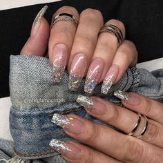 Coffin - Ballerina Style Nails ideas to inspire - Ongles 03 Aycrlic Nails, Cute Nails, Pretty Nails, Coffin Nails, Manicures, Bright Summer Nails, Glittery Nails, Clear Glitter Nails, Sparkly Acrylic Nails