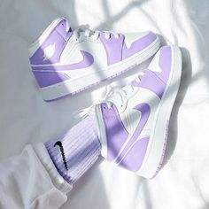 Nike Custom Air Jordan 1 Mid Sneakers- Lilac  Custom Comes With One Pair Of Hand Dyed Nike Crew Socks As A Gift Hand Painted With Leather Paint And Coatedwaterproof New With Box Options To Buy Are Already Converted In Womens Sizes !!!Size 4y- Womens 5.5 Size 4.5y- Womens 6 Size 5y- Womens 6.5 Size 5.5y- Womens 7 Size 6y- Womens 7.5 Size 6.5y- Womens 8 Size 7y- Womens 8.5 All Nike Shoes, Nike Shoes Air Force, Hype Shoes, New Shoes, Air Force Sneakers, Air Force Jordans, White Nike Shoes, Nike Air Jordans, Jordan Shoes Girls
