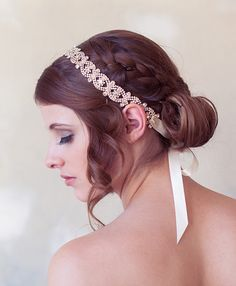 This is so gorgeous... Rose Gold Art Deco Headband Silver Crystal Bridal by GildedShadows