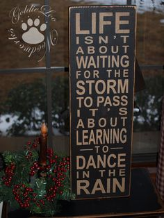 Life, Dance InThe Rain Primitive Word Art by GoldieLooWoodworks, $28.00