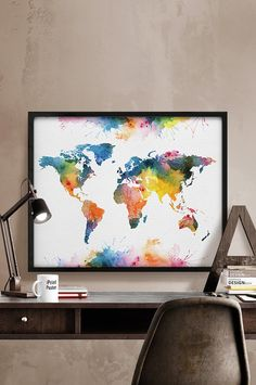 World map watercolor poster, Colorful World map, Art Print, watercolour Art, World map art, World map wall art, Home Decor, iPrintPoster.