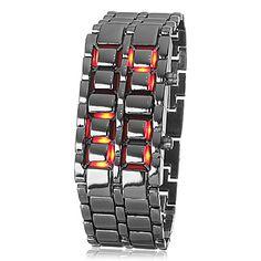 Mens Red LED Stylish Digital Watch