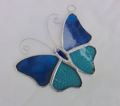 Stained Glass Butterfly Suncatcher - Turquoise   £8.00