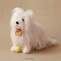 Needle felted Maltese dog by Feltpets. Panicky questions about needle felting long haired dogs!