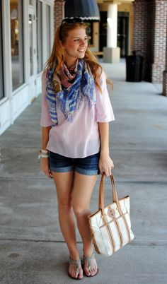 cuffed denim shorts, floaty pink blouse, blue striped scarf. The - StreetStyle